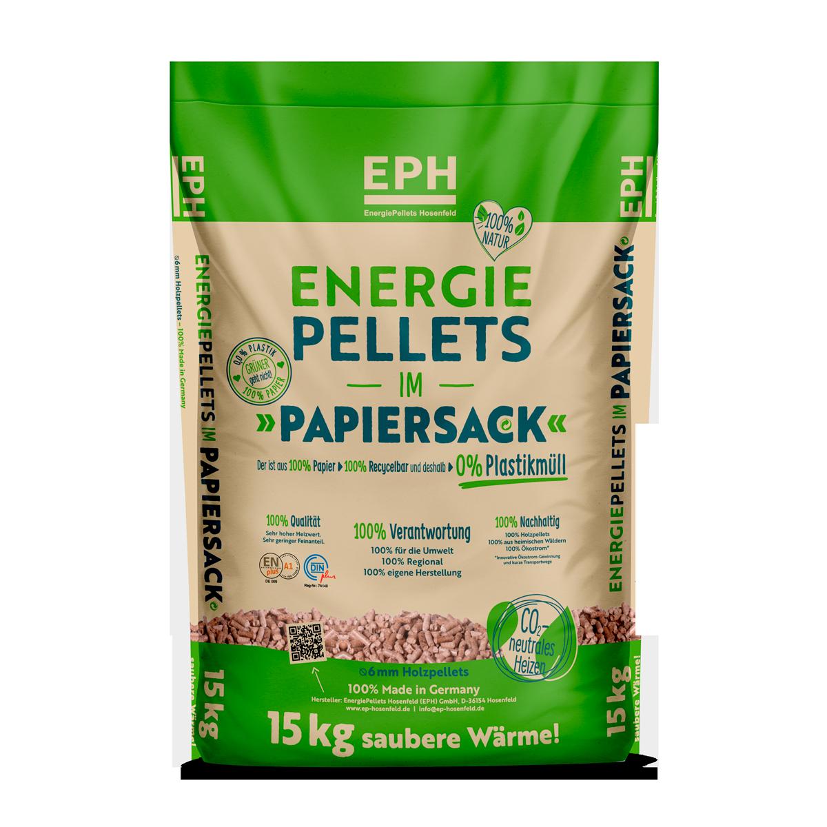 Holzpellets, Energiepellets im Papiersack - EPH