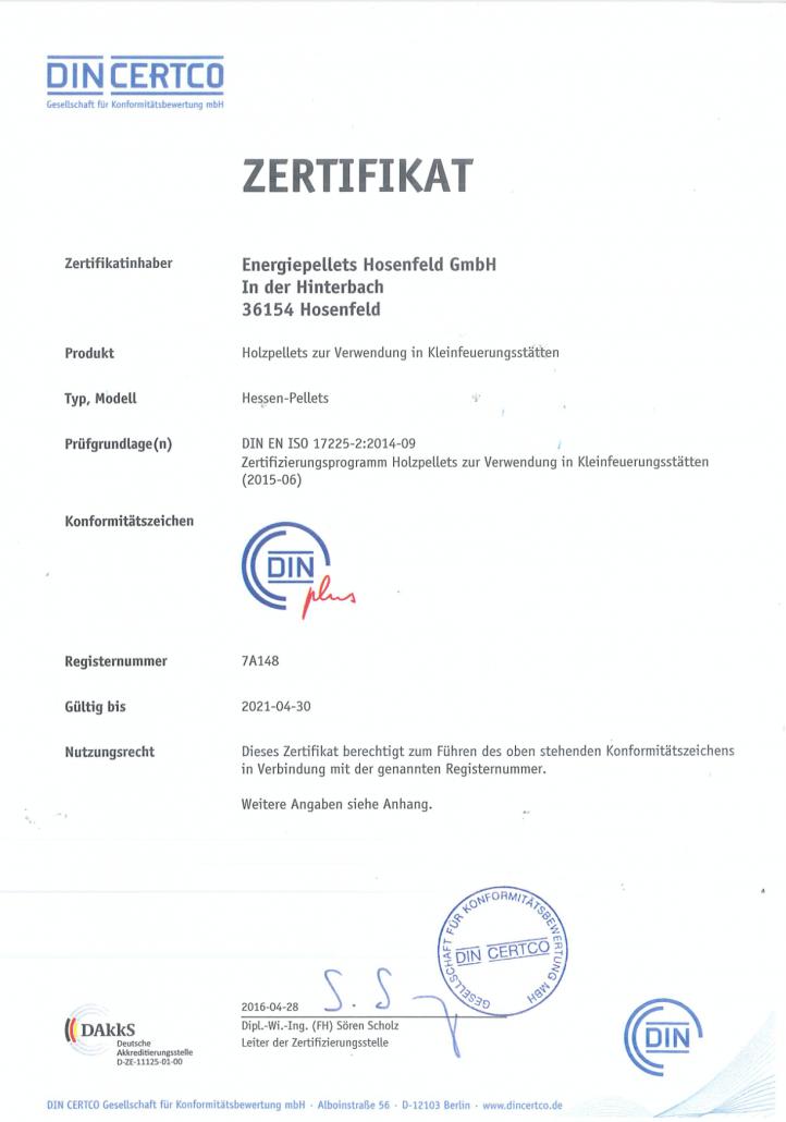 EPH DIN plus Zertifikat